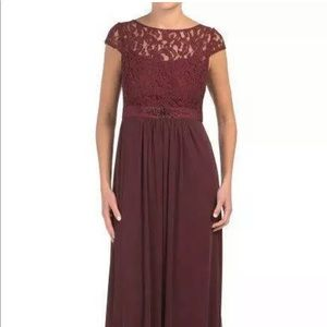 AdriannaPapell sz8 currant LaceIllusion tulle Gown